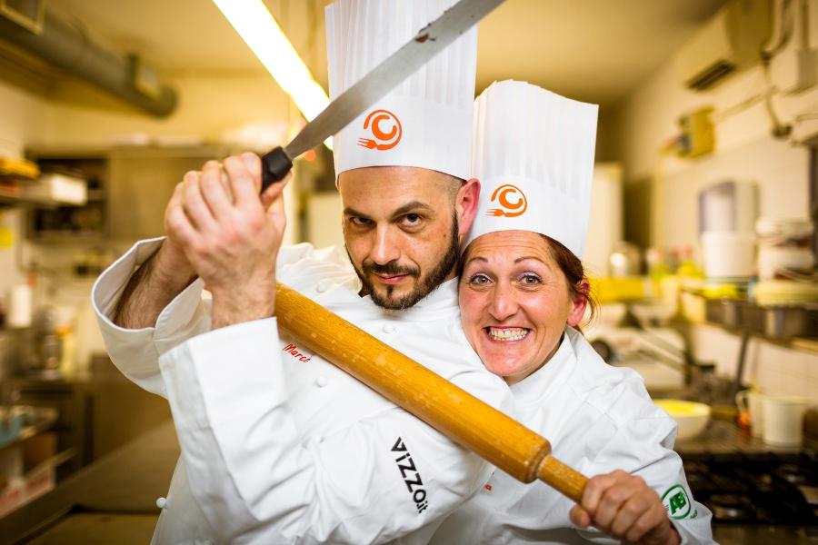 Marco Vitali e Samantha Pagani scherzano prima della sfida al Bon Bon