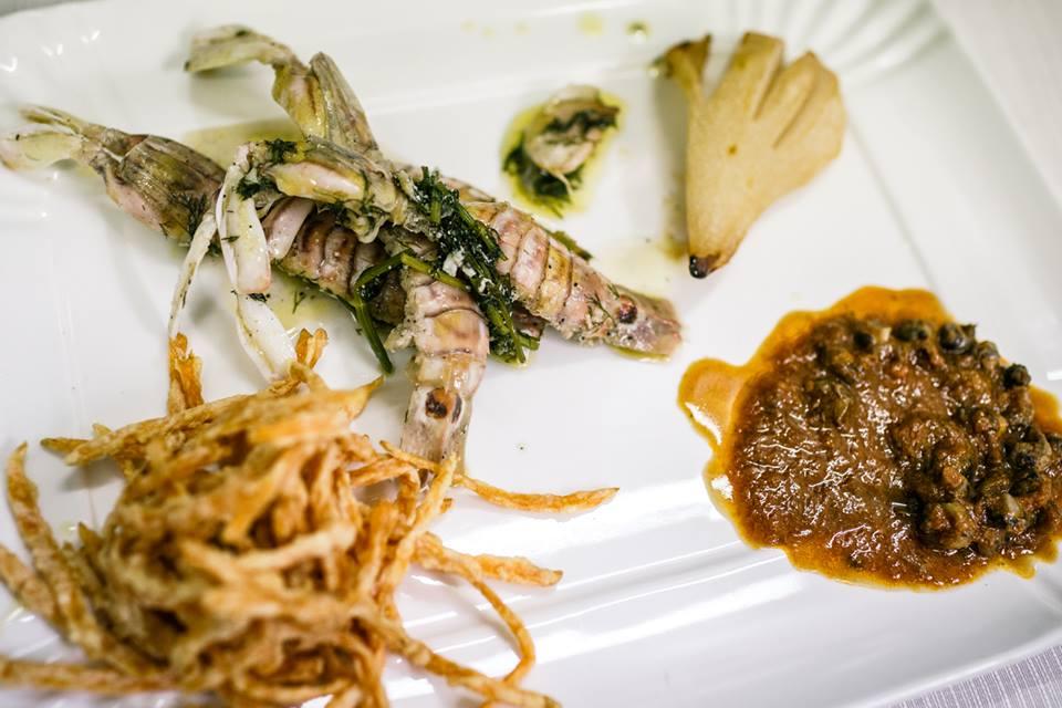 Piatto di Carmen Iacovetti �Canocchie in porchetta e lumachine della tradizione�